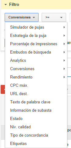 Campos para la creación de filtros en Google AdWords