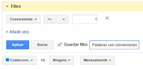 Crear filtro conversiones Google AdWords