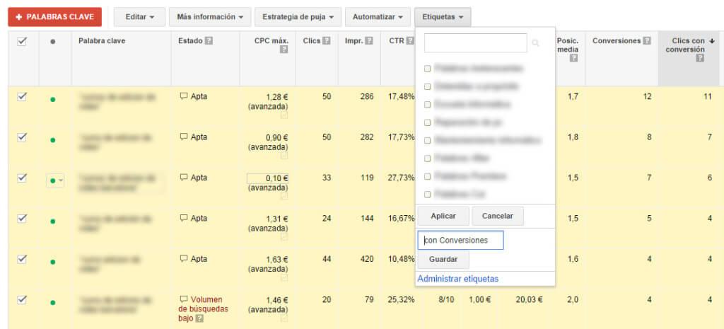 Configuración de etiquetas en Google AdWords