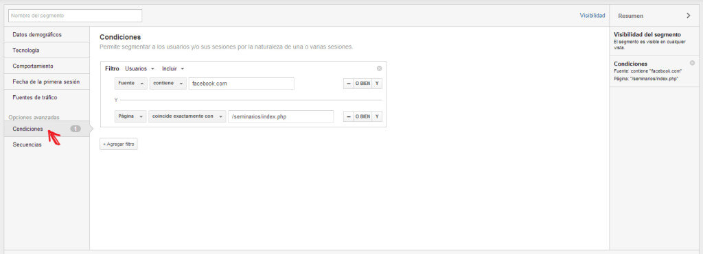 Editor segmentos personalizados Google Analytics